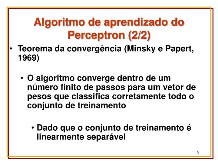 Algoritmo de aprendizado do Perceptron (2/2)