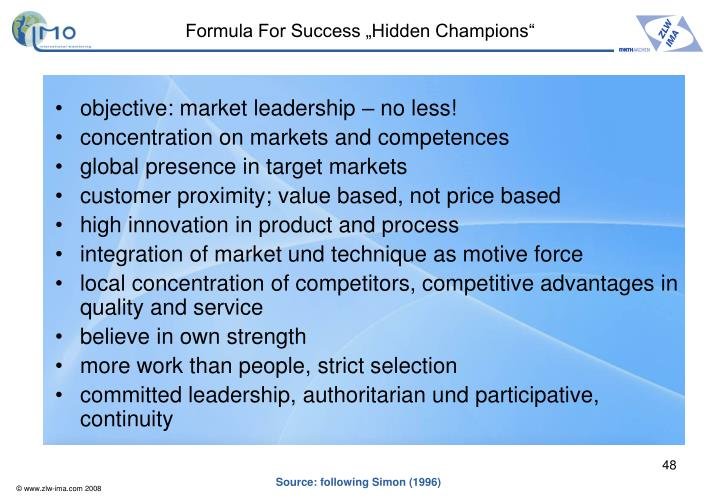"Formula For Success ""Hidden Champions"""