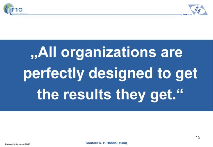 """All organizations are perfectly designed to get the results they get."""