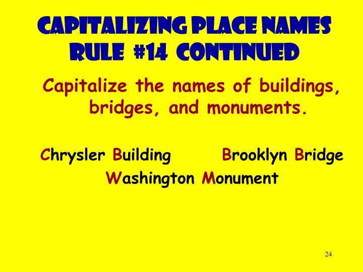 Capitalizing place names