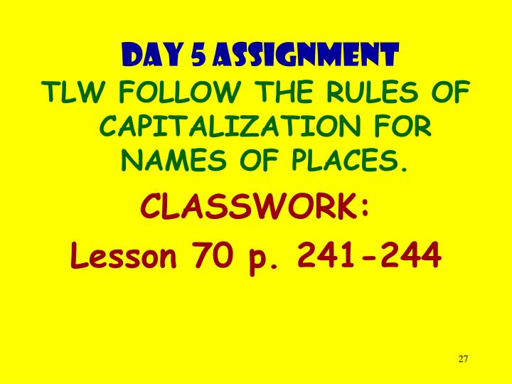 Day 5 assignment