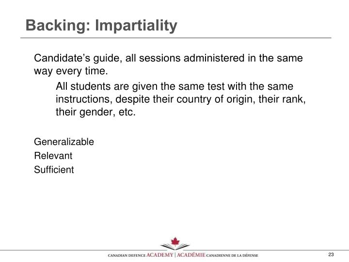 Backing: Impartiality