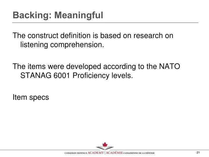 Backing: Meaningful