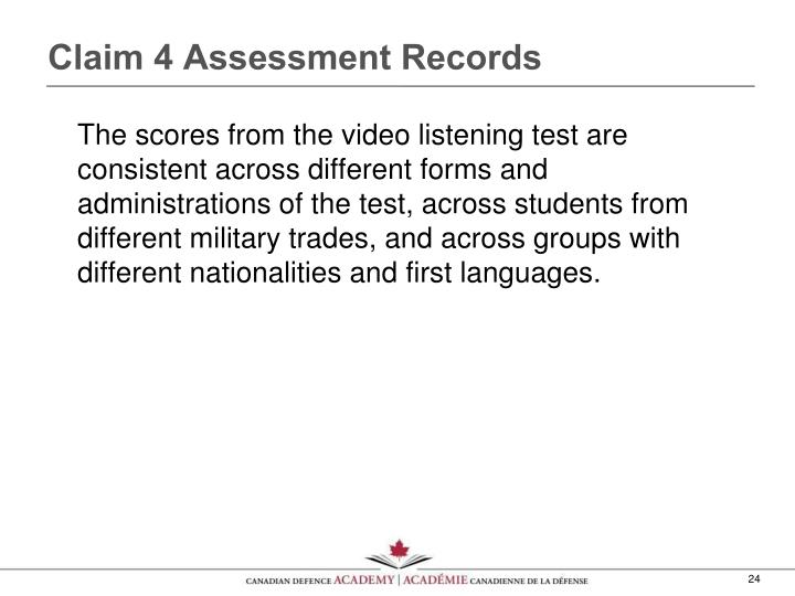 Claim 4 Assessment Records