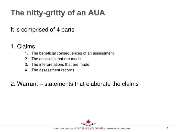 The nitty-gritty of an AUA