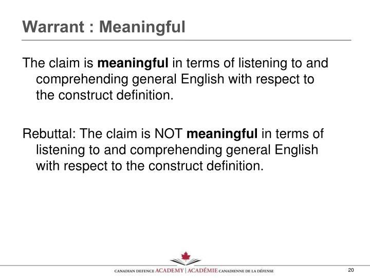 Warrant : Meaningful