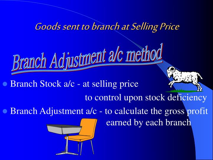 Goods sent to branch at Selling Price