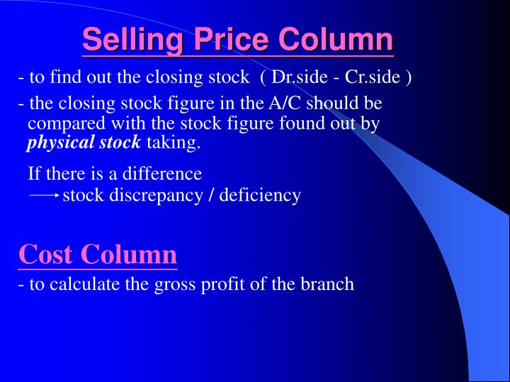 Selling Price Column
