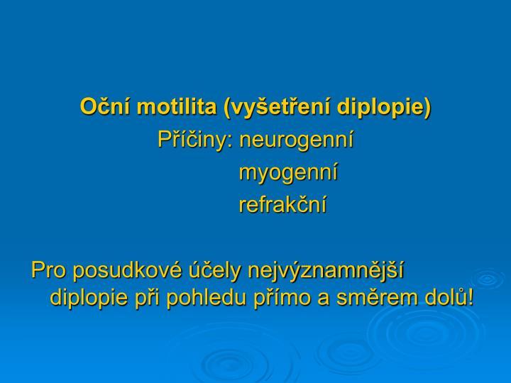 Oční motilita (vyšetření diplopie)