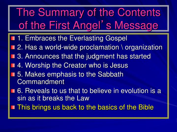 The Summary of the Contents of the First Angel