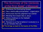 the summary of the contents of the first angel s message