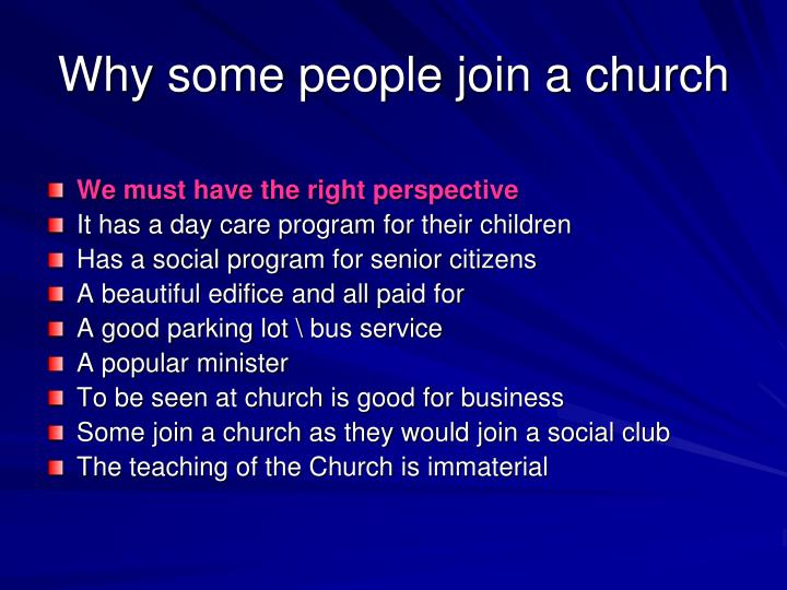 Why some people join a church