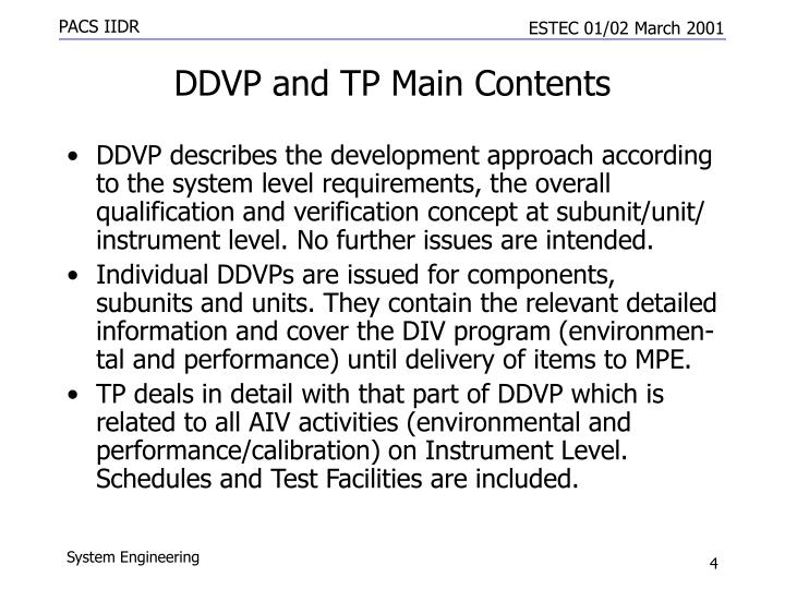 DDVP and TP Main Contents