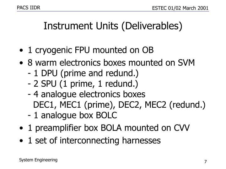Instrument Units (Deliverables)