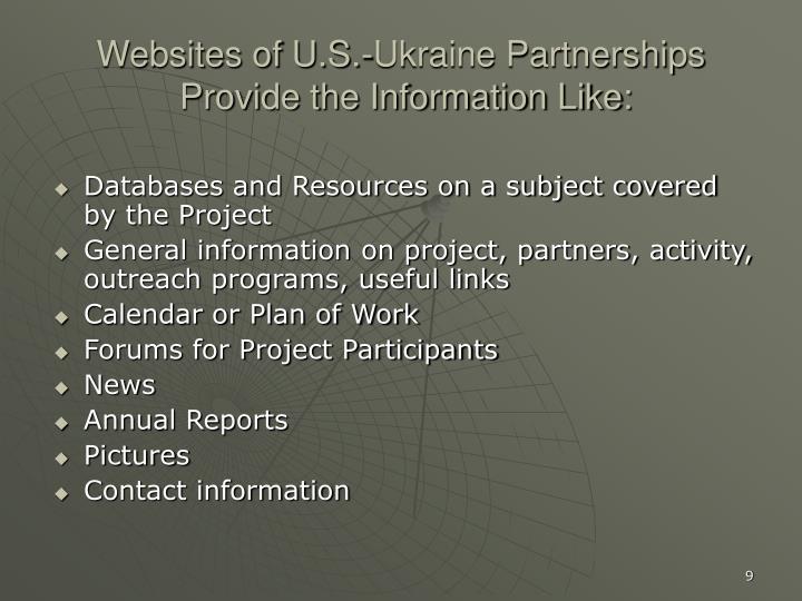 Websites of U.S.-Ukraine Partnerships