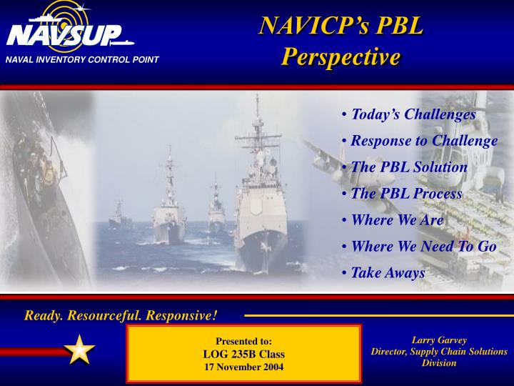 NAVICP's PBL