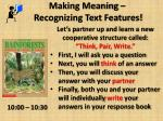 making meaning recognizing text features