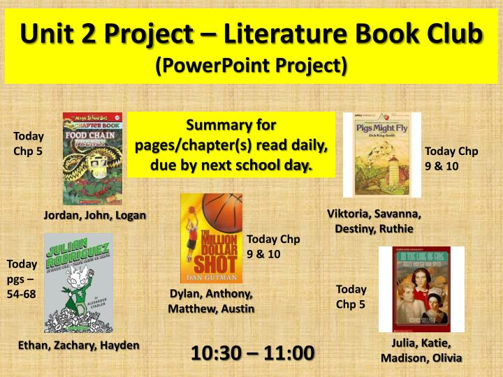 Unit 2 Project – Literature Book Club