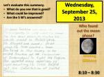 wednesday september 25 2013