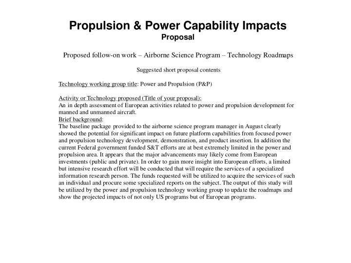 Propulsion & Power Capability Impacts