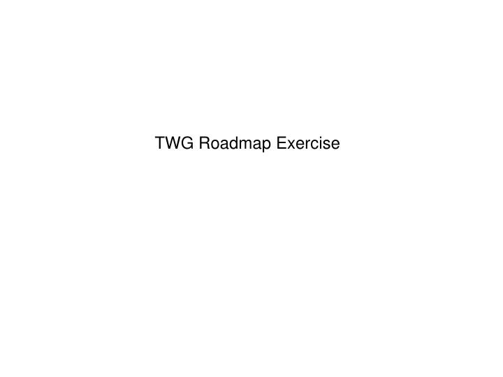 TWG Roadmap Exercise