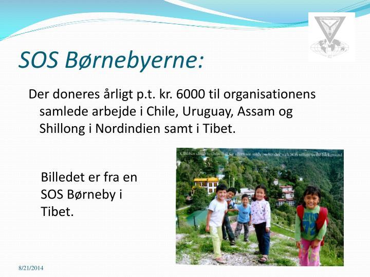 Der doneres årligt p.t. kr. 6000 til organisationens samlede arbejde i Chile, Uruguay, Assam og Shillong i Nordindien samt i Tibet.