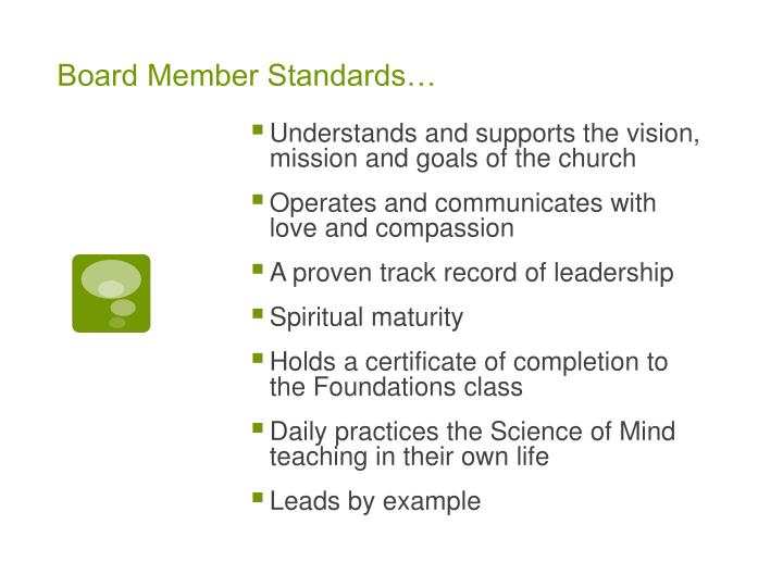 Board Member Standards…