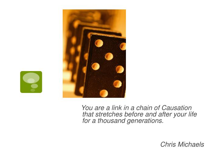 You are a link in a chain of Causation that stretches before and after your life for a thousand generations.