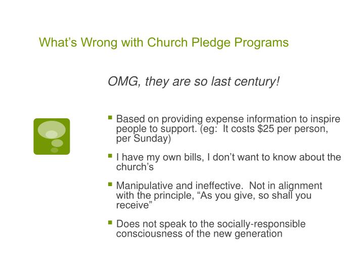What's Wrong with Church Pledge Programs