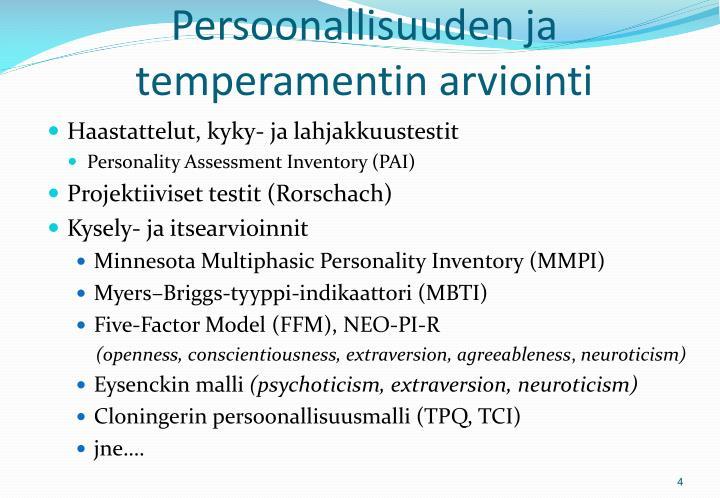 Persoonallisuuden ja temperamentin arviointi