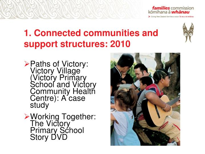 1. Connected communities and support structures: 2010