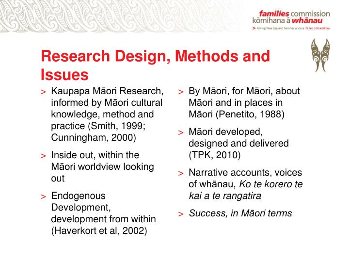 Research Design, Methods and Issues