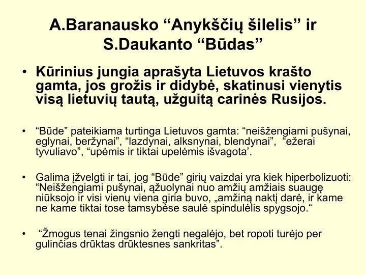 A.Baranausko Anyki ilelis ir S.Daukanto Bdas