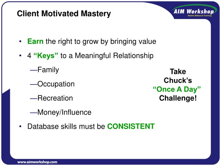 Client Motivated Mastery