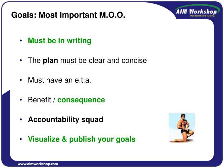 Goals: Most Important M.O.O.