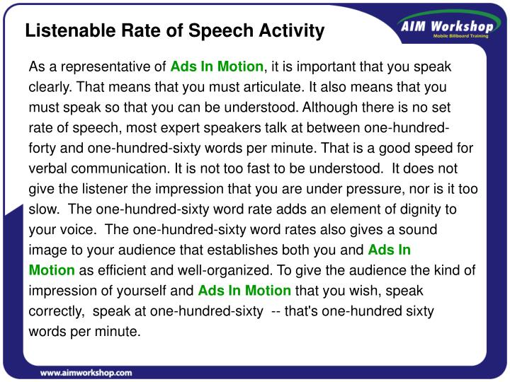 Listenable Rate of Speech Activity