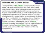 listenable rate of speech activity