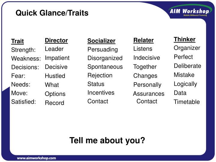 Quick Glance/Traits