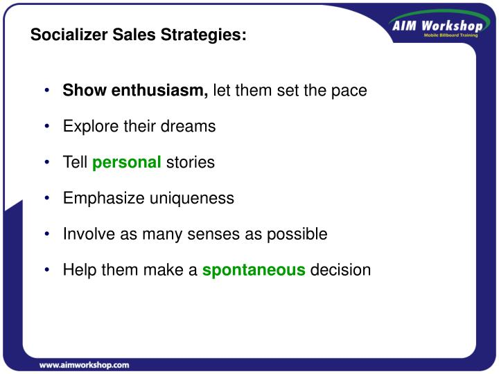 Socializer Sales Strategies: