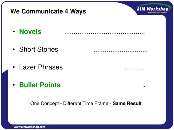 We Communicate 4 Ways