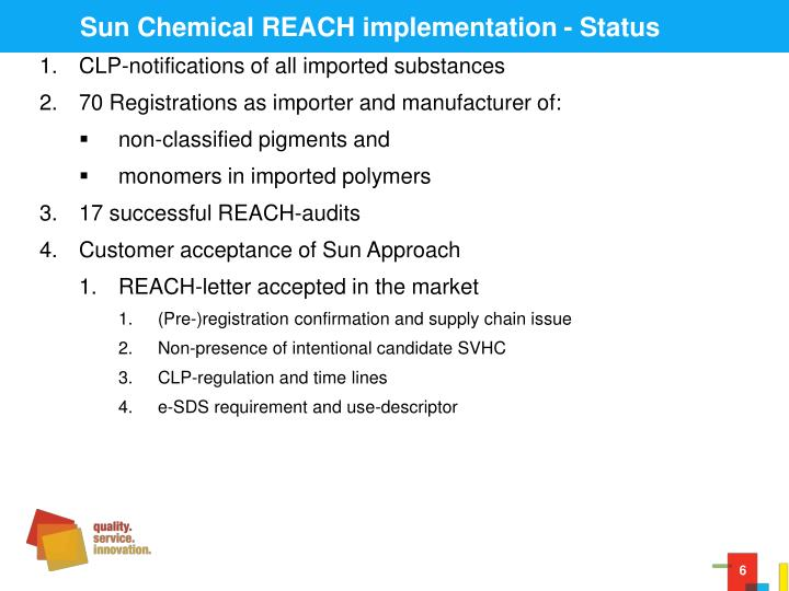 Sun Chemical REACH implementation - Status