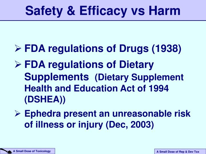 Safety & Efficacy vs Harm