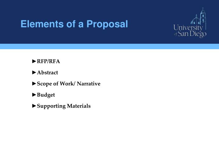 Elements of a Proposal