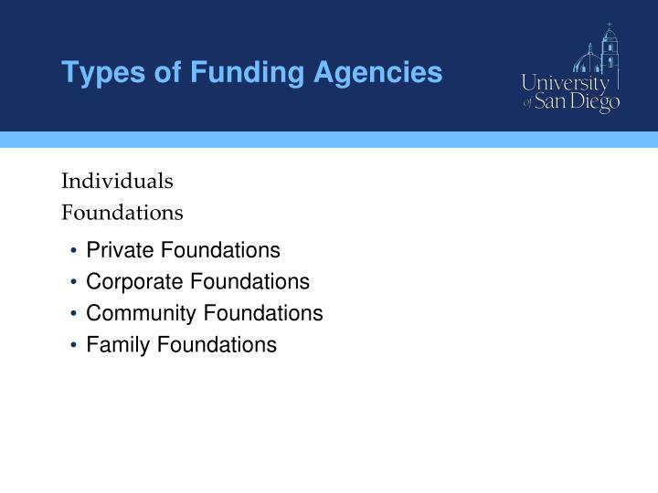 Types of Funding Agencies