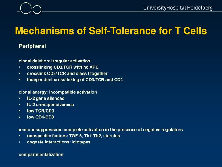Mechanisms of Self-Tolerance for T Cells