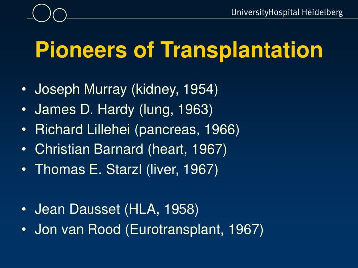 Pioneers of Transplantation
