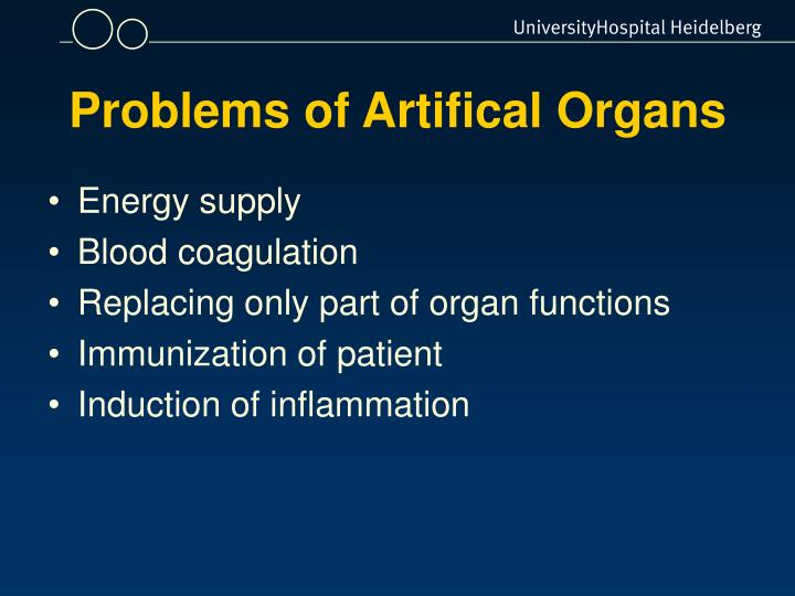 Problems of Artifical Organs