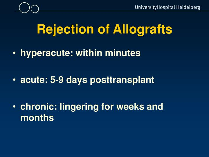 Rejection of Allografts