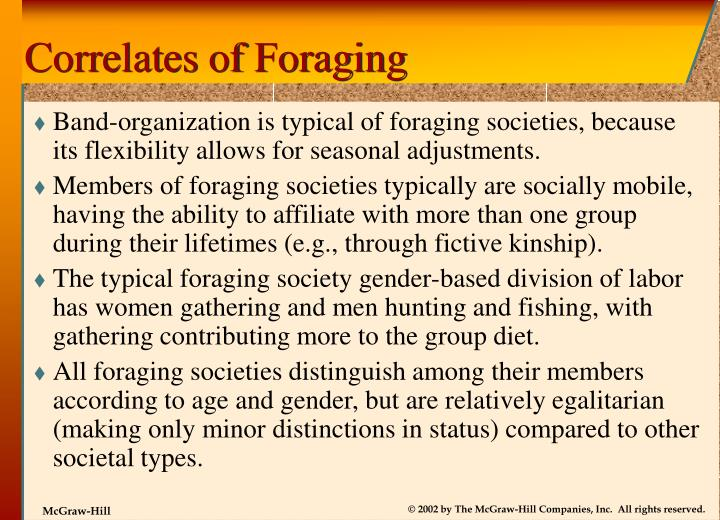 Correlates of Foraging