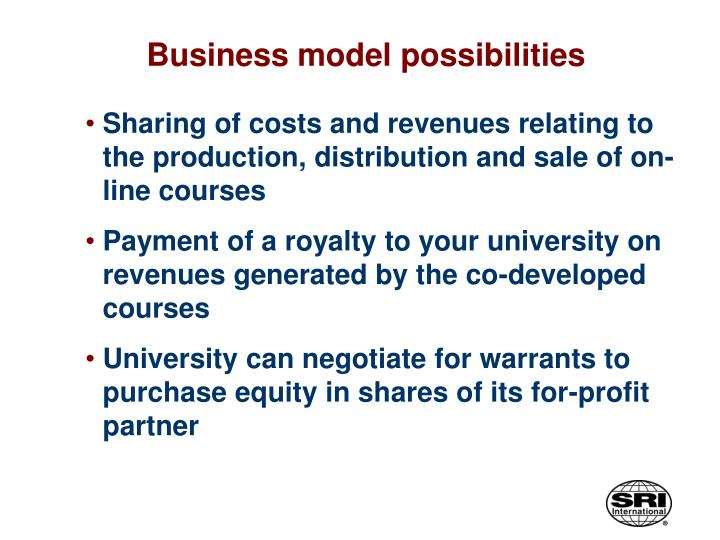 Business model possibilities